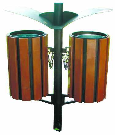 环保木条分类垃圾箱SJ5011