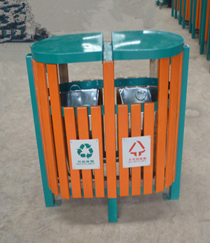 户外钢木垃圾桶SJ50141
