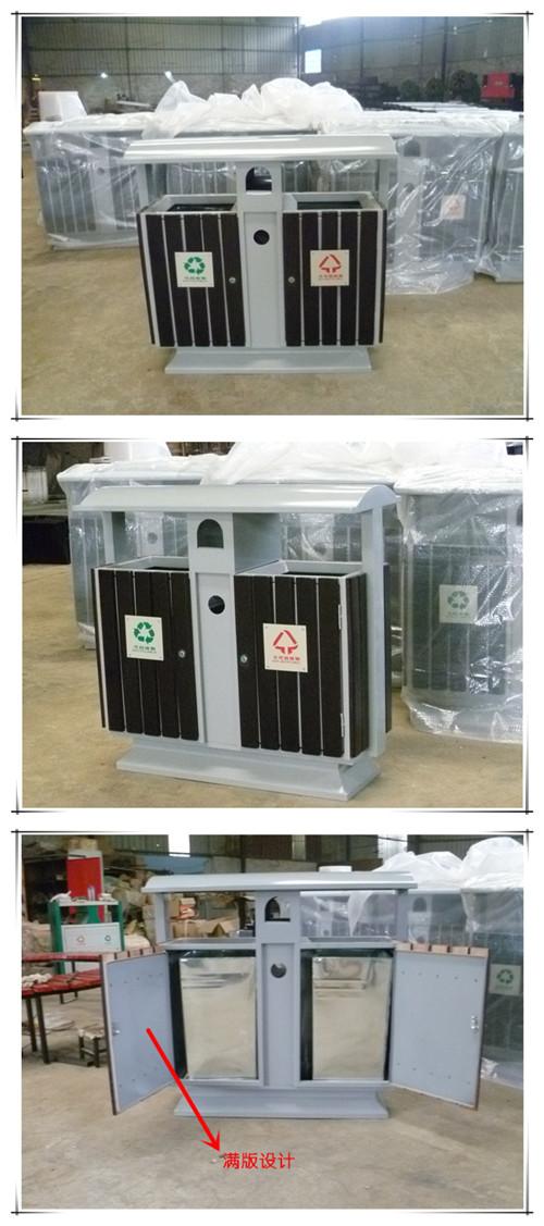 钢木垃圾箱SJ50332的正面侧面背面展示图片