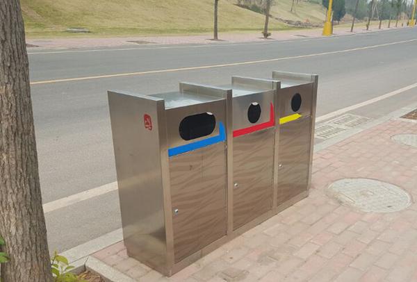 公园三分类不锈钢垃圾箱