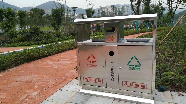 不锈钢垃圾桶双分类定制款
